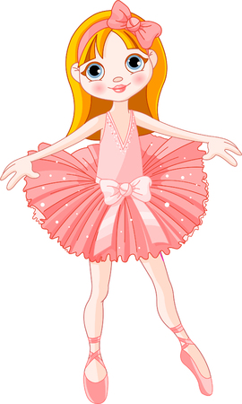 Illustration of  Little Cute  ballerina with pink dress  Vector