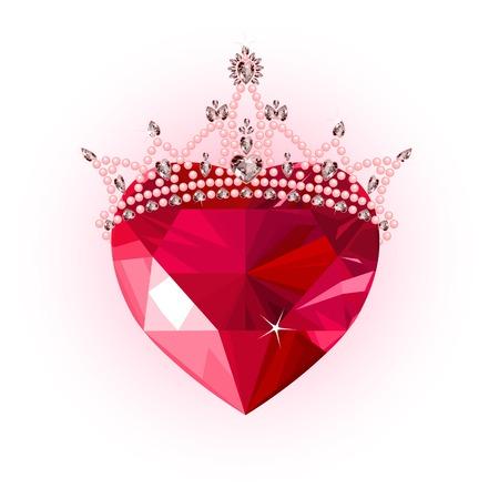 heart and crown: Cristallo lucido amore cuore con design crown princess Vettoriali