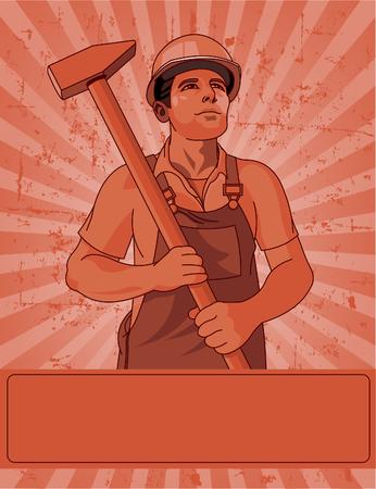 handy man: Lavoratore detiene un poster di martello per la festa del lavoro