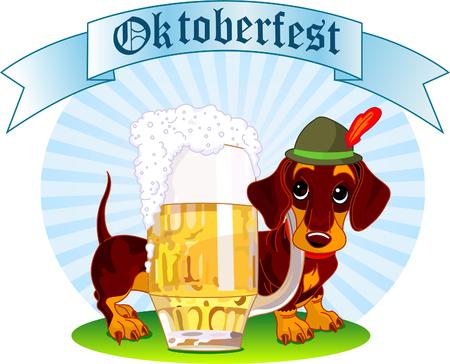 옥토버 페스트 맥주 한 잔 근처 소시지 강아지의 그림
