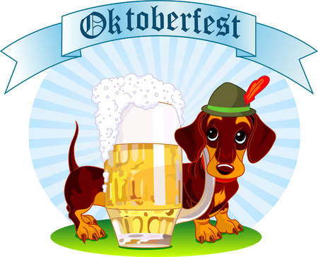 Oktoberfest Illustration of a sausage dog near  a pint of beer Vector