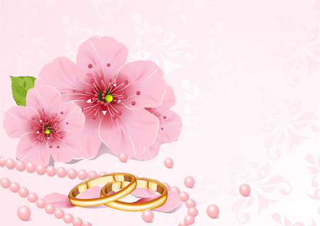 Wedding rings and pink cherry blossom design  Vector