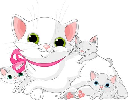 chaton en dessin anim�: Illustration de la famille de chats blanc - m�re avec chatons