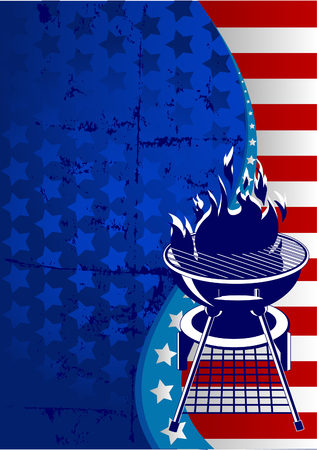 Labor Day  barbeque background with place for your text Çizim