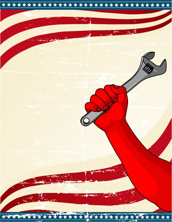 Design by Labor Day with the handoff worker holding the wrench Stock Vector - 7572941