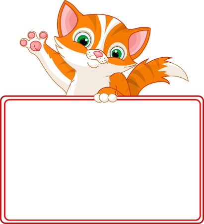 Adorable Kitten Looking Over A Blank Starry Sign  Vector