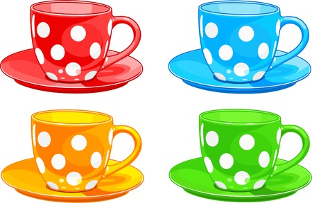 cup: Illustration of four different color Cups and saucers