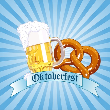 beer festival: Vertical  Oktoberfest Celebration Radial Background with Copy space.