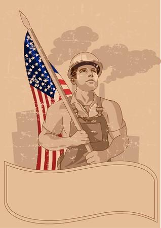 Trabajador sosteniendo la bandera de Estados Unidos, póster para el día del trabajo  Foto de archivo