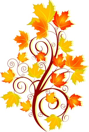 swirling: Decorative swirling autumn design Stock Photo