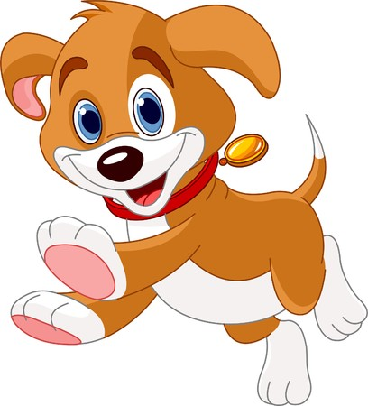 cartoon dog: Illustration of the cute fun puppy running Stock Photo
