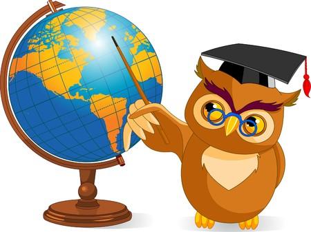 Illustratie van een cartoon wijze uil met wereld bol
