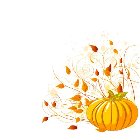 Autumn Pumpkin and leaves -  illustrated background. Illustration