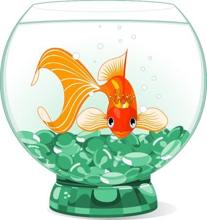 Illustration of a happy beautiful goldfish with tiara in the aquarium Vettoriali