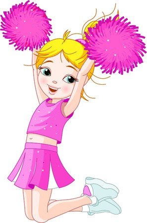 happy teenagers: Illustration of cute cheerleading girl jumping in air
