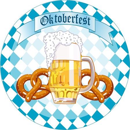 Round  Oktoberfest Celebration design with beer and pretzel Vector