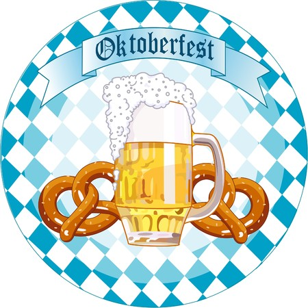 Runde Oktoberfest Celebration Design mit Bier und Brezel Vektorgrafik