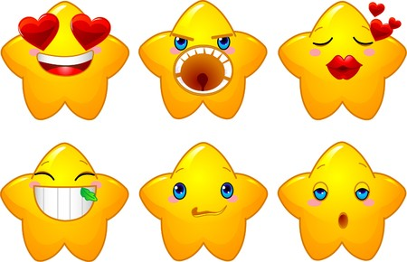 Set of characters of yellow stars with different faces, eyes, mouth and brushes  Vector
