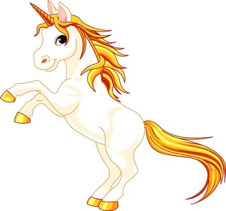animals horned: Beautiful  illustration of rearing up unicorn