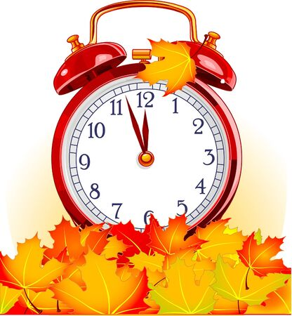 Red vintage alarm clock in autumn leaves on white background Stock Vector - 7628236