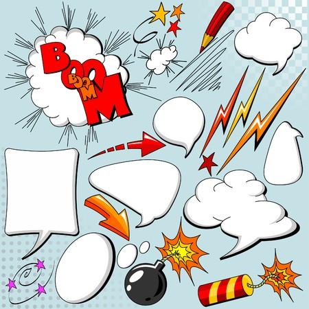 historietas: Gran conjunto de elementos cómicos para su diseño