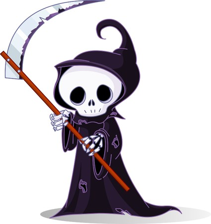 gravestone: Cute cartoon grim reaper with scythe  isolated on white