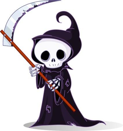scythe: Cute dibujos animados tan reaper con guada�a aislado en blanco