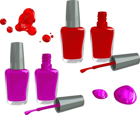 Bottles of nail polish, isolated on white background  Ilustrace