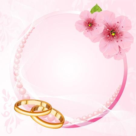 결혼 반지와 핑크색 벚꽃 디자인