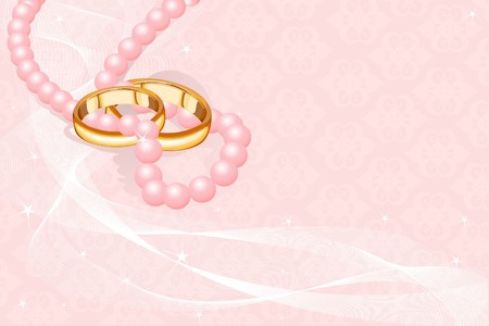 Wedding rings on the pink background  Illustration