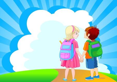 cartoon school girl: Regreso a la escuela. Ilustraci�n de la chica y chico ir a la escuela