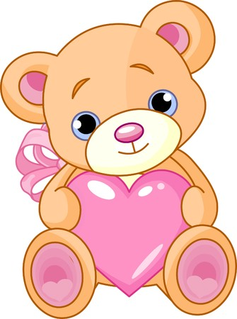 Illustration of cute little Teddy bear holding  pink heart.  Çizim