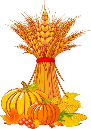 Seasonal background with plump pumpkins, wheat, corn and autumn leaves Stock fotó - 7628264