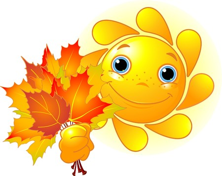 fall fun: Cartoon Character of Cute  Sun giving autumn leaves