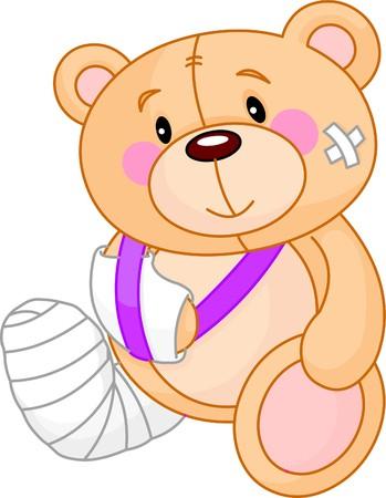 아주 귀여운 아픈 테디 베어. 좋아지다