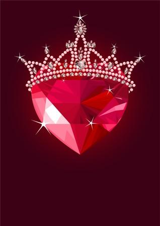 Glanzende kristal liefde hart met princess crown op donkere achtergrond