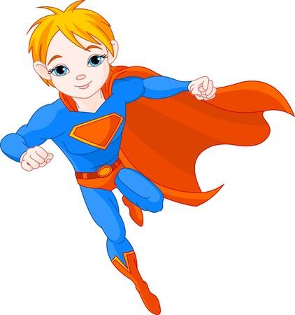 Illustratie van held jongen in de vlieg
