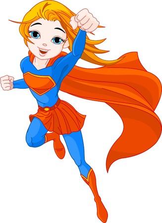 Illustration of  Hero Girl in the fly  Stock Vector - 7645374