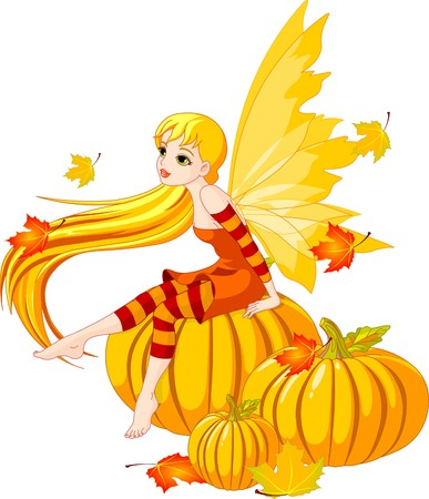 Autumn  fairy elf sitting on pumpkin Vector