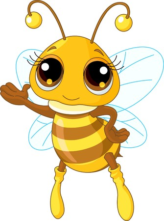 Illustration of a Friendly Cute Bee Showing And Flying  Ilustração