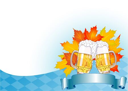 beer festival: Oktoberfest Celebration Background with Copy space. Illustration