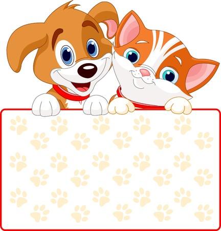 chiot et chaton: Chat et de chien signe de d�tention (ajouter votre propre message)  Illustration