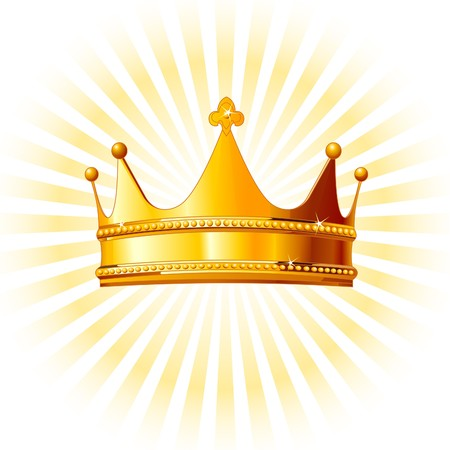 golden crown: Hermosa corona de oro brillante sobre fondo brillante  Vectores