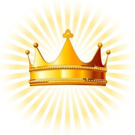 Mooie glanzende gouden kroon op gloeiende achtergrond Stock Illustratie