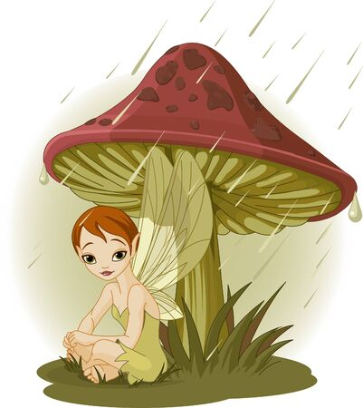 hadas caricatura: Cute Fairy vistiendo el engranaje de la lluvia bajo seta  Vectores