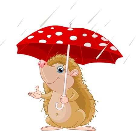 우산 아래 작은 귀여운 고슴도치 일러스트