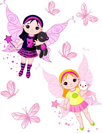 Two cute fairies   blond and brunette, flying with butterflies Çizim