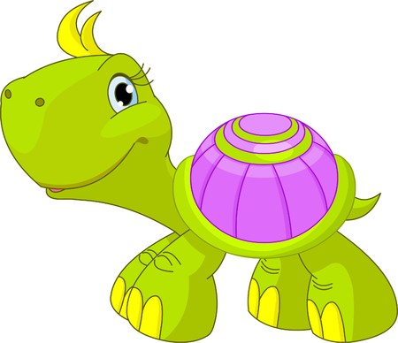 Illustration of cute funny turtle  Vector