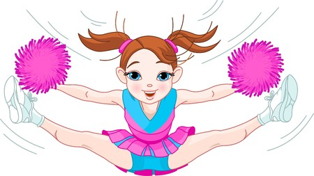 cheer: Illustration of cute cheerleading girl jumping in air