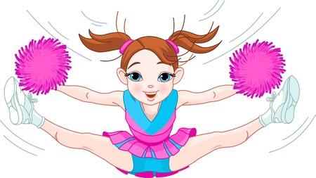 pompom: Illustrazione della cute girl cheerleading saltare in aria